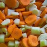 Roasted kohlrabi, carrots and parsnips