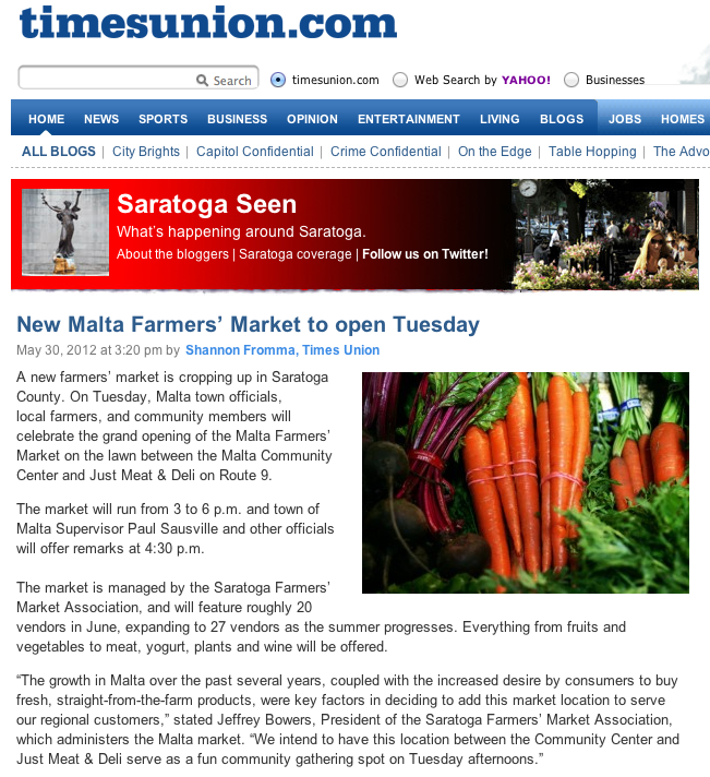 Times Union: New Malta Farmers' Market to open on Tuesday