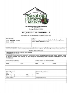 RFP for winter market location