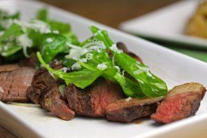 Grilled Sirloin Steak with Arugula by Pattie Garrett