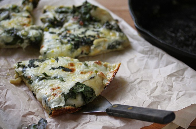 White Skillet Pizza with Swiss Chard