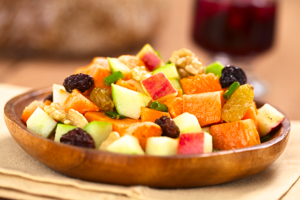 Sweet Potato Salad with Apples, Raisins and Shallots