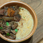 Slow-Cooked Beef Shank with Polenta and Vegetables