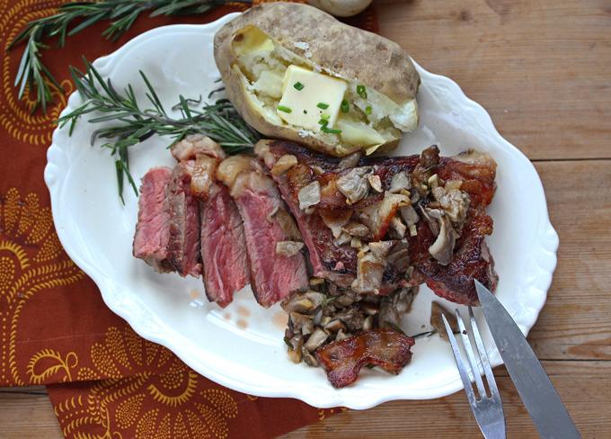 New York Strip Steak with Mushrooms by Pattie Garrett