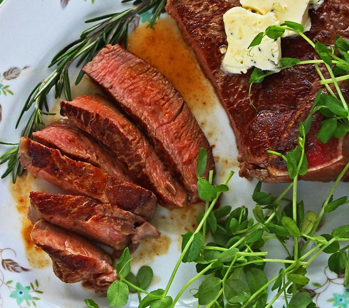 Sirloin Steak with Garlic Herb Butter by Pattie Garrett