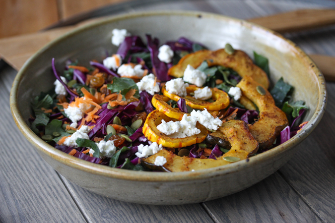 Kale Salad with Roasted Acorn Squash