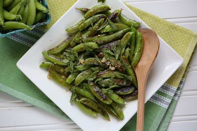 Sugar Snap Peas with Garlic and Mint